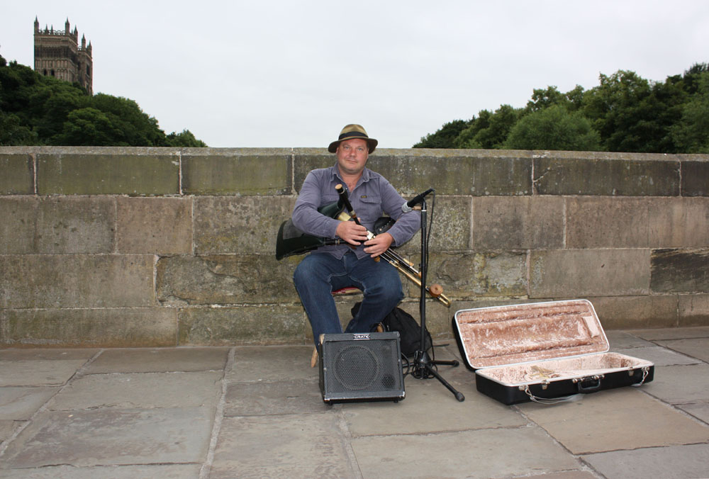 Irish Piper, Neil Chambers of Newcastle on Durham's Framwellgate Bridge. Photo: David Simpson