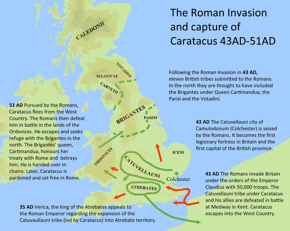 Map showing the Roman invasion of Britain.