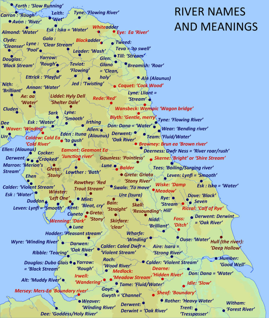 River names of the ancient (Celtic and Indo-European) Anglo-Saxon and Viking periods. Respectively coloured blue, red and brown. Graphic: David Simpson.
