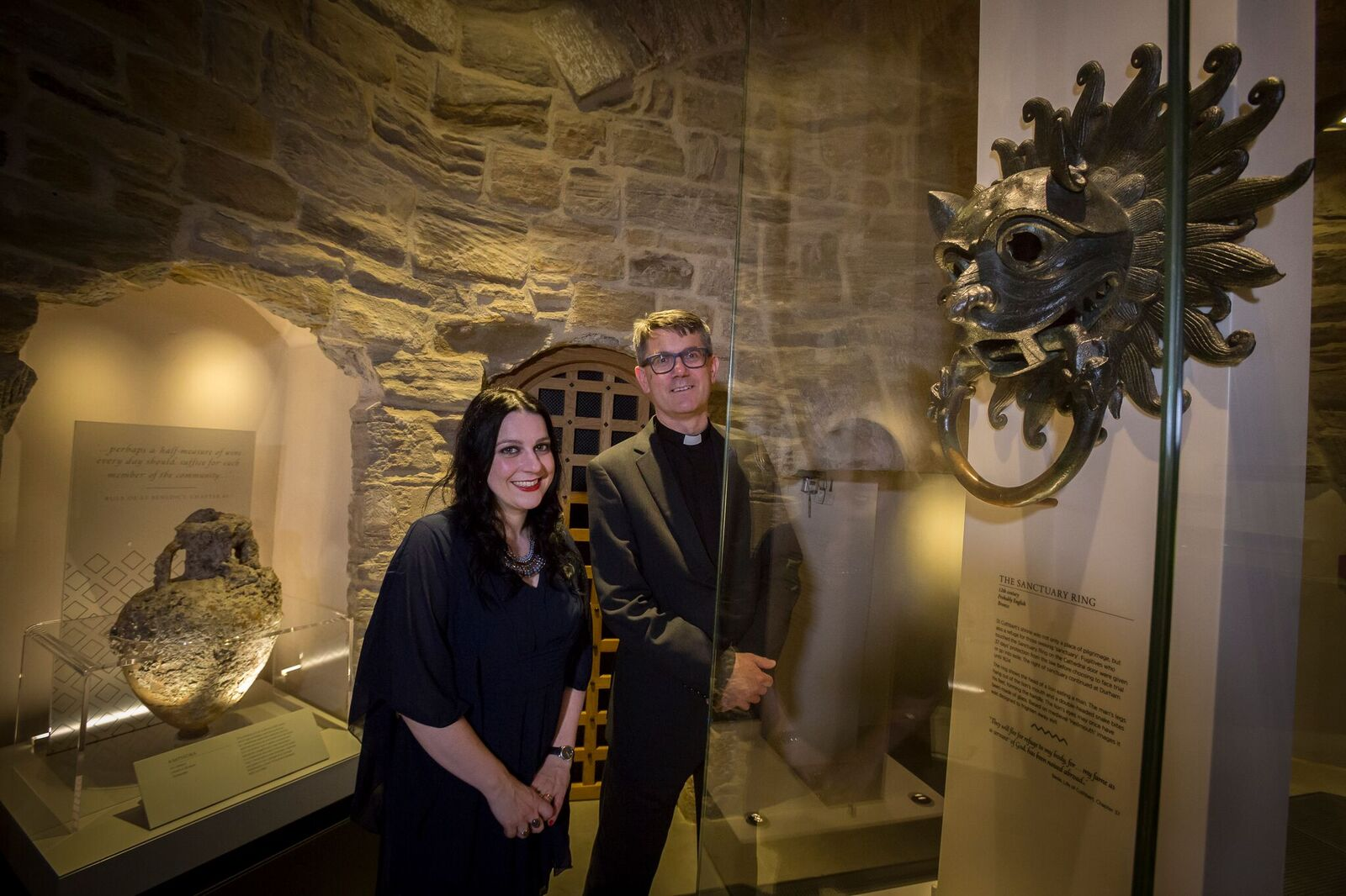 Dr Janina Ramirez and an of Durham, The Very Reverend Andrew Tremlett