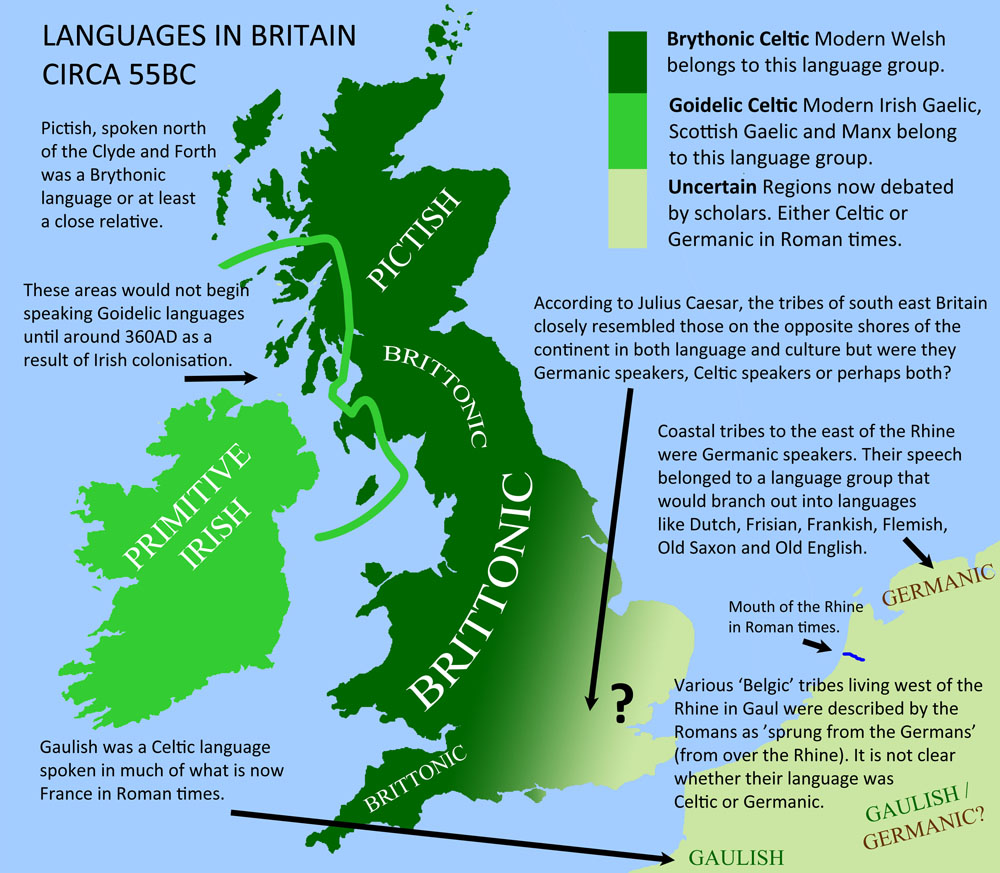 Languages in Britain around 55BC