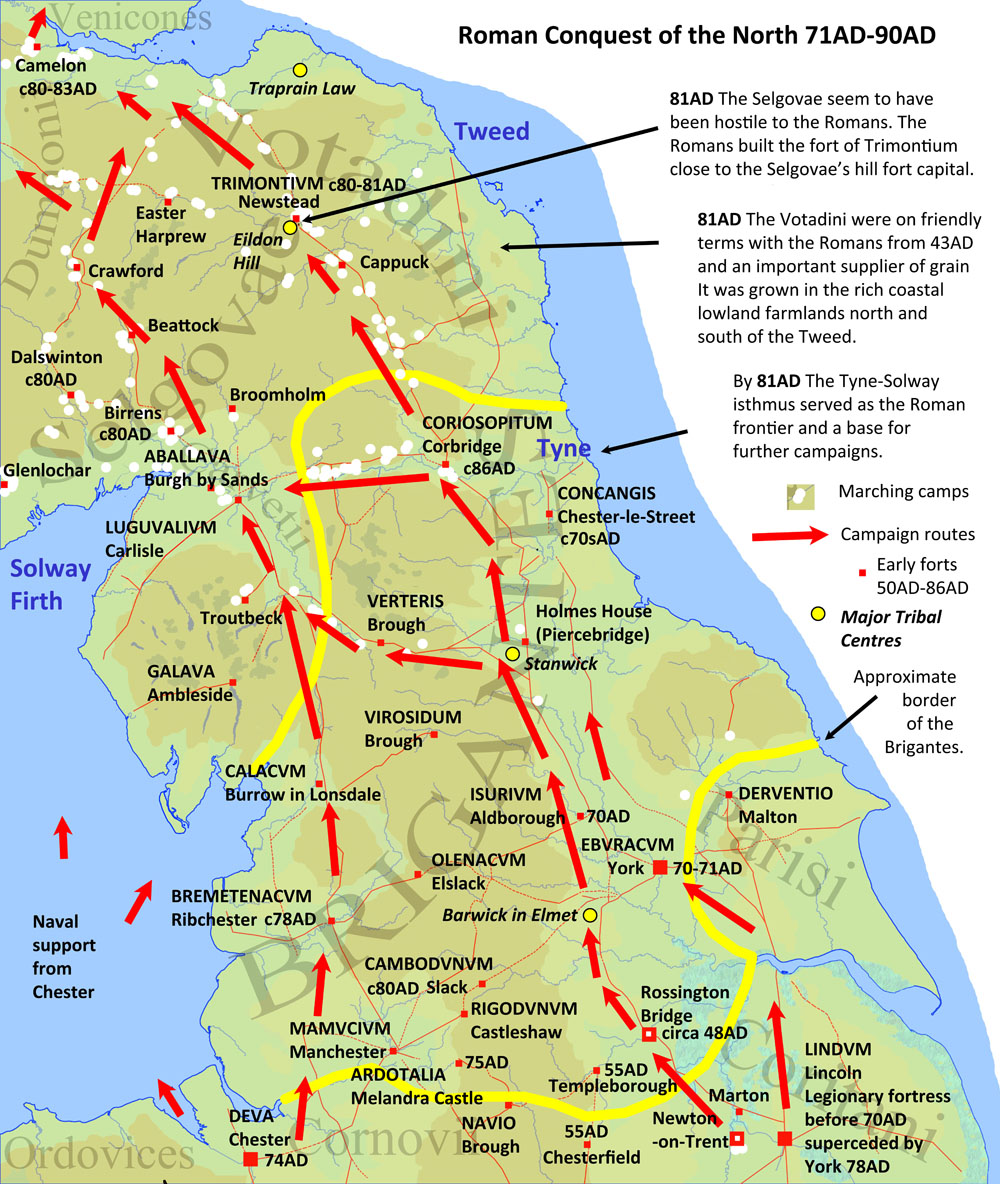 This map shows the advance of the Romans into what is now northern England and the Scottish Borders.