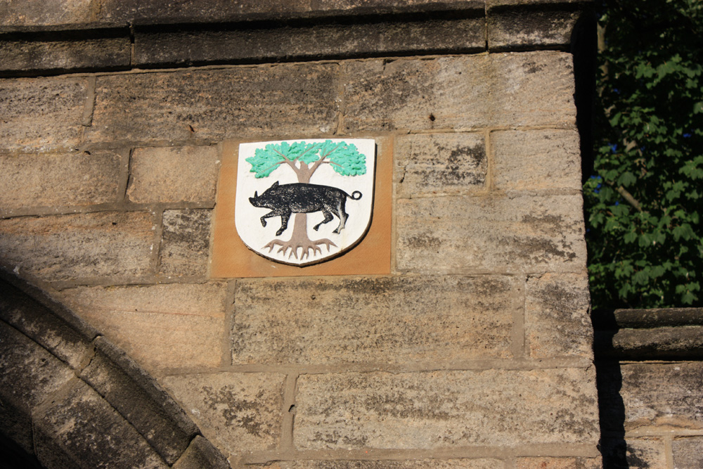 Gilpin shield on church gateway in Houghton-le-Spring