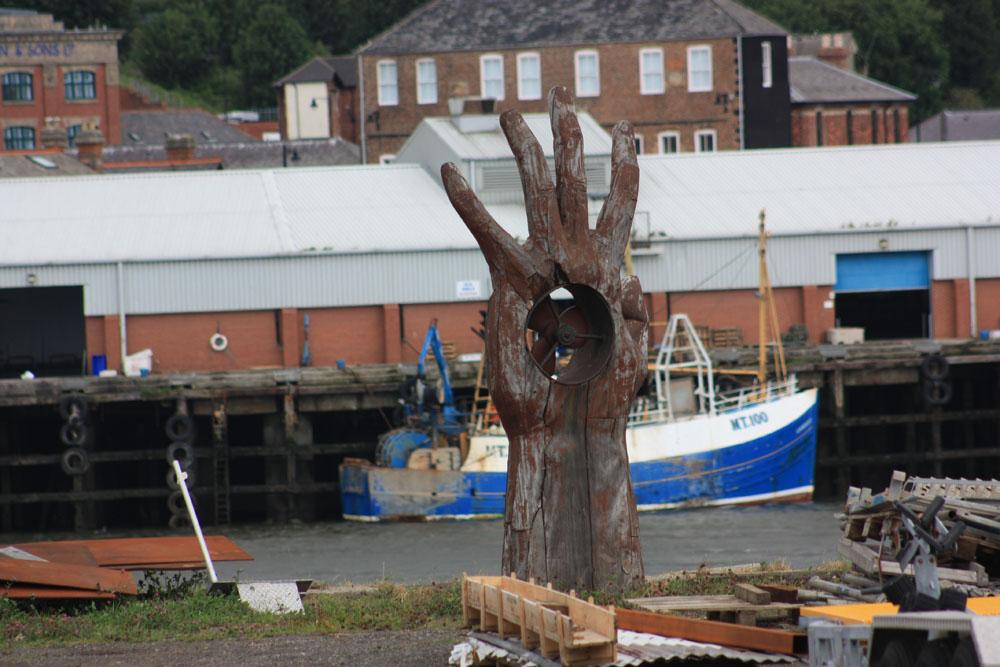 Hand sculpture, South Shields riverside