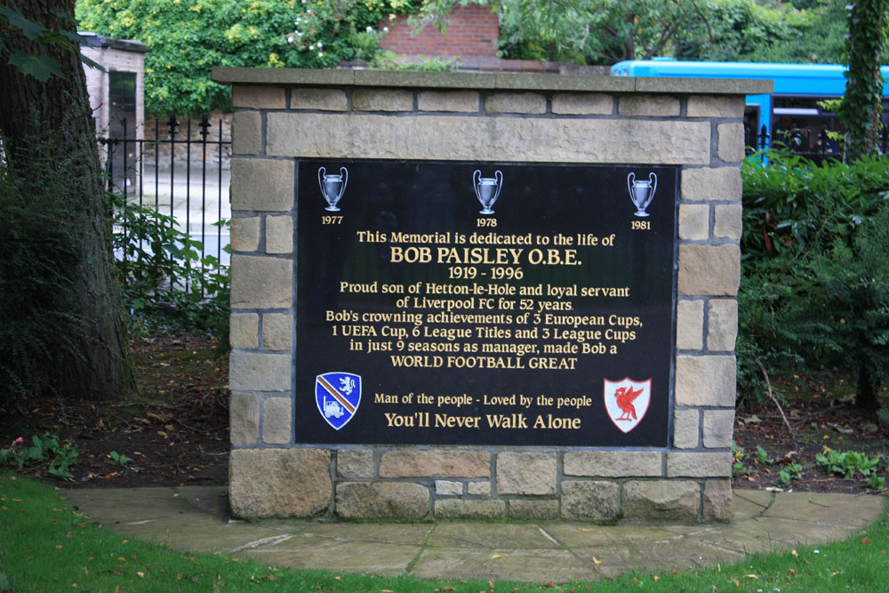 Memorial to Bob Paisley at Hetton-le-Hole