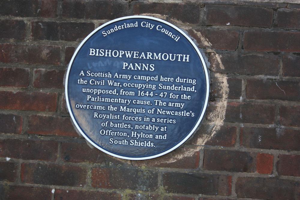 Civil War plaque near Wearmouth Bridge