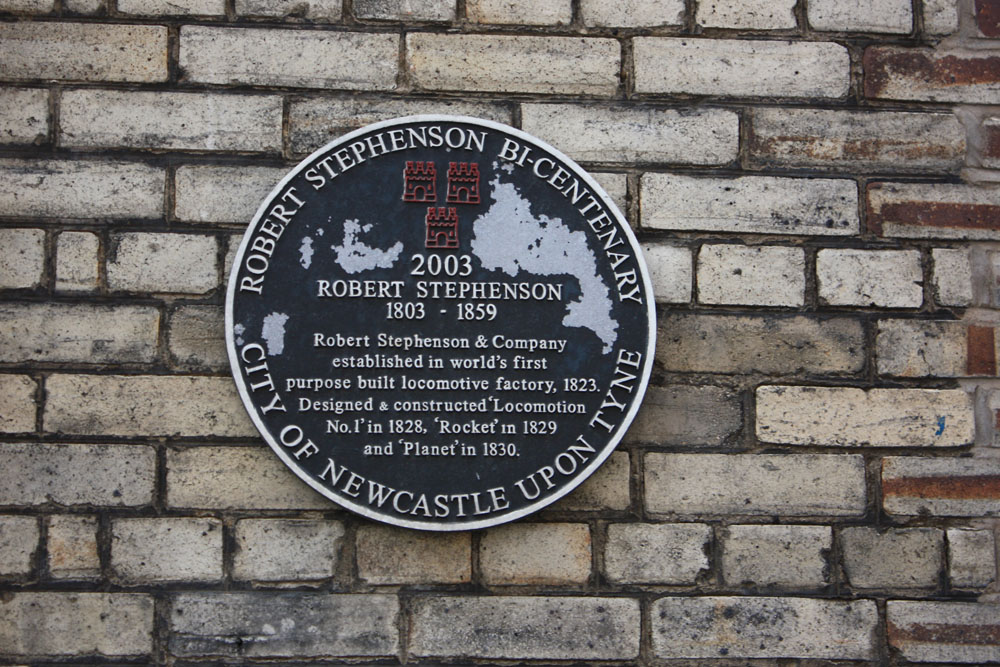 Plaque commemorating the famous locomotive works Newcastle