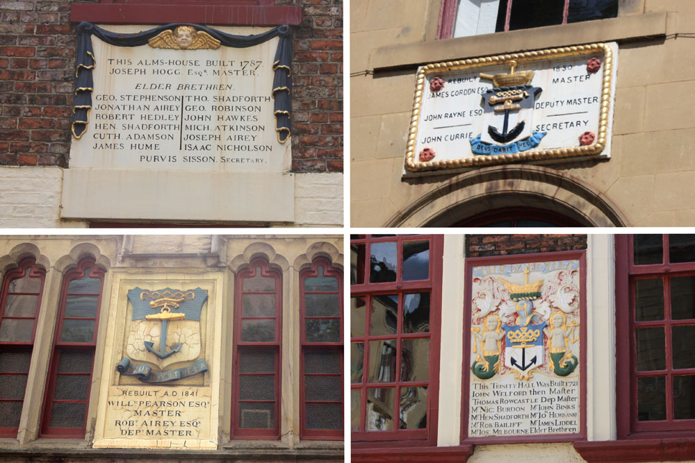 Various plaques in the couryard buidlings of Trinity House. Dated. Photo © David Simpson 2015