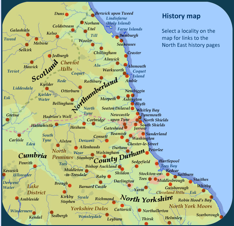 History Of North East England Searchable Map - Map of england