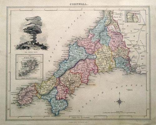 19th century map of Cornwall