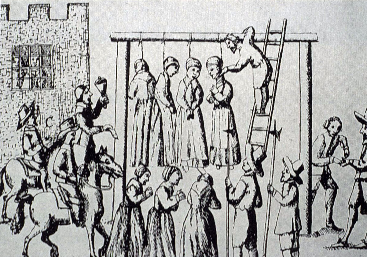 Illustration from ralph Gardner's 'England's Grievances' showing the execution of witches