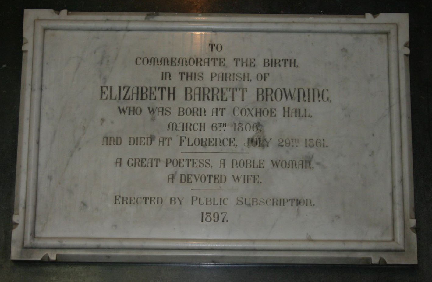 Memorial to Elizabeth Barrett Browning at Kelloe church near Coxhoe in County Durham. Photo: David Simpson