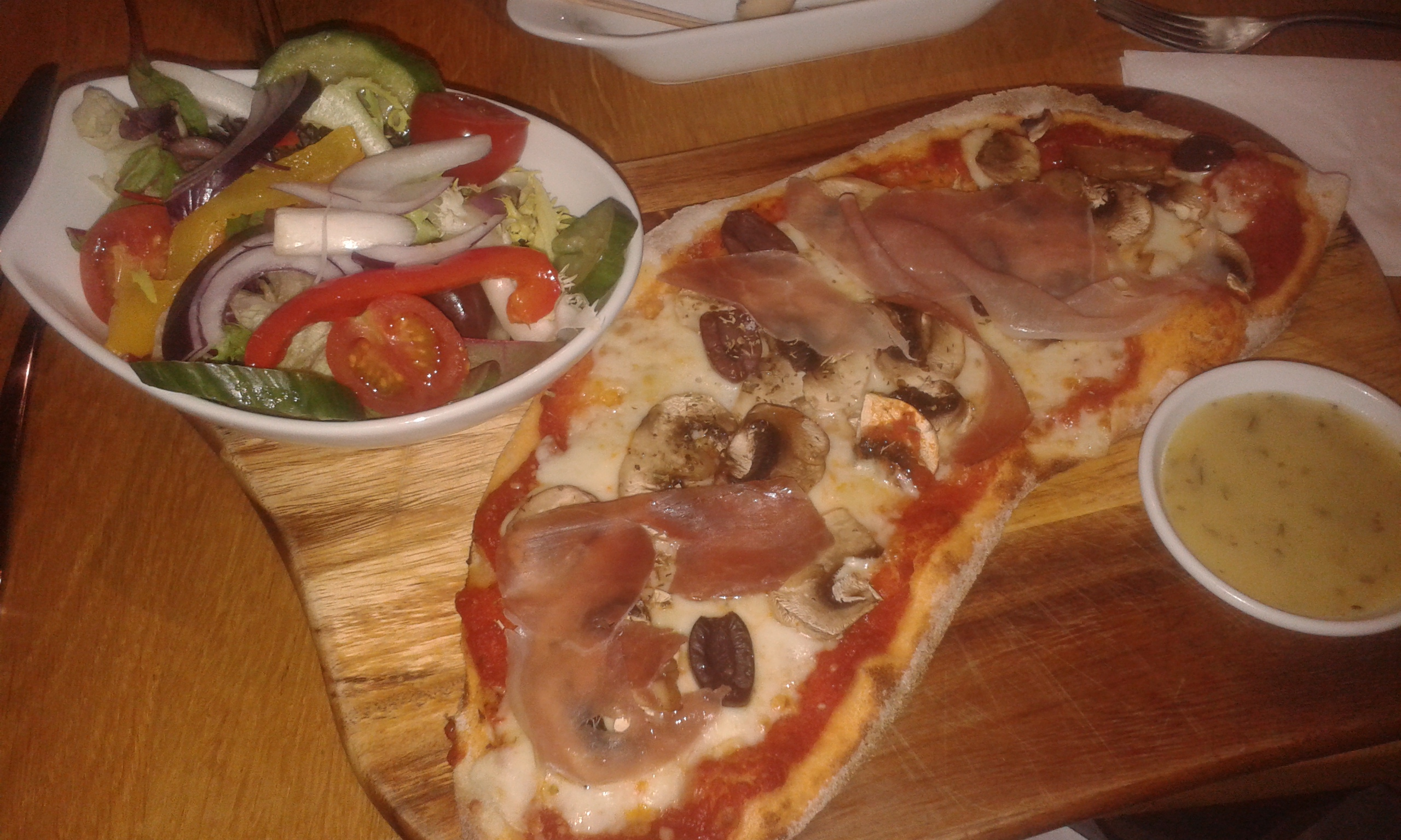 Enjoying some pre-match food at Prezzo. Photp: Kirstin Hannaford