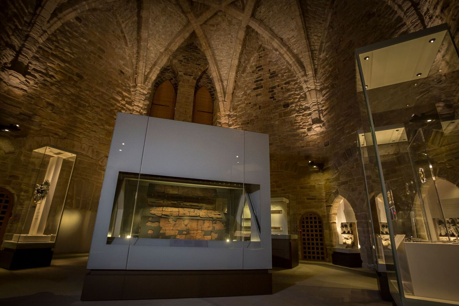 The coffin of St Cuthbert forms the centrepiece of the permanent exhibition in the cathedral's great kitchen