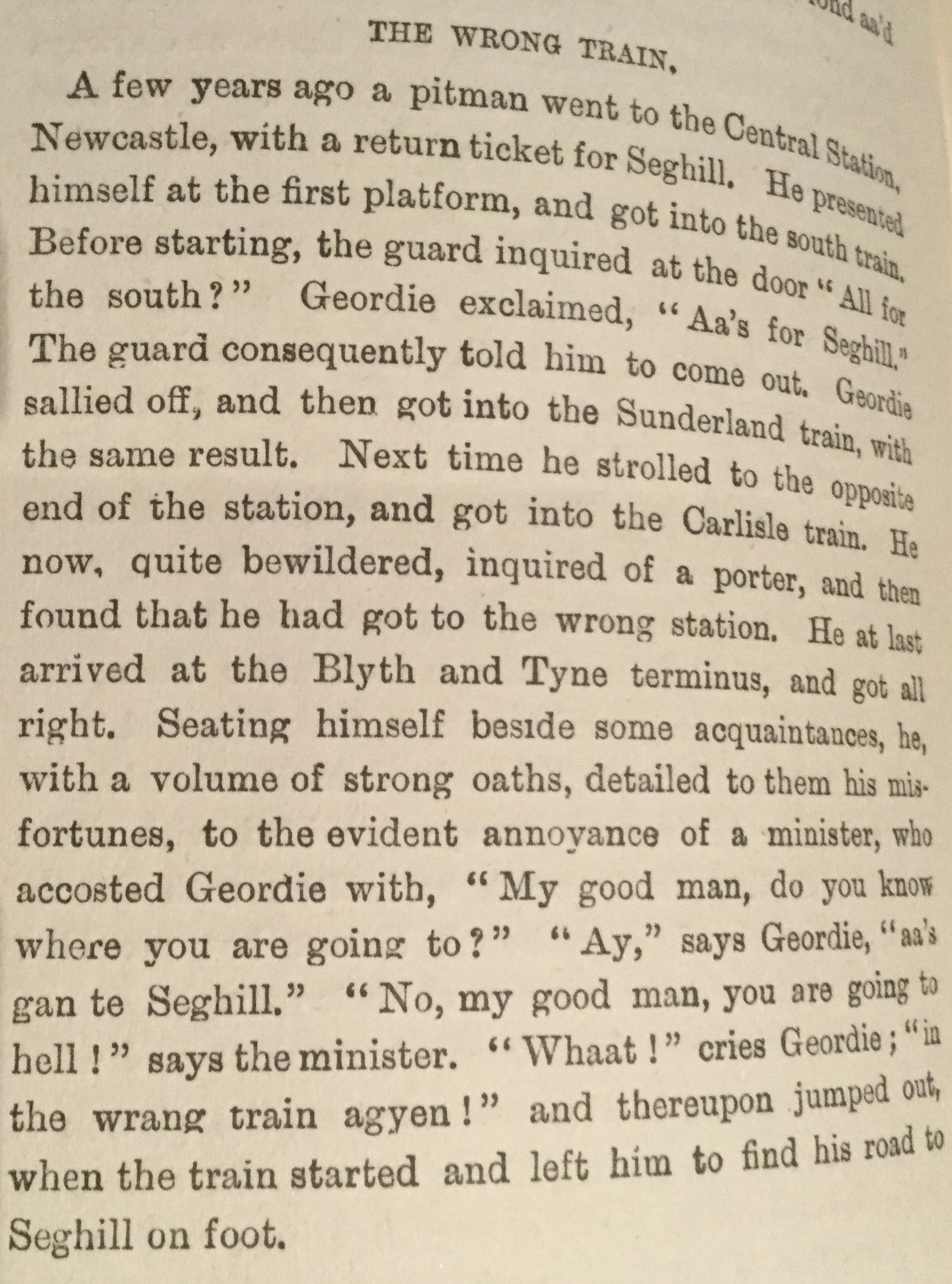 A typical observation of a 'Geordie' miner from the Monthly Chronicle of North Country Legend, this example from March 1887