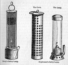 Miners' safety lamps showing the inventions of Humphy Davy and George Stephenson