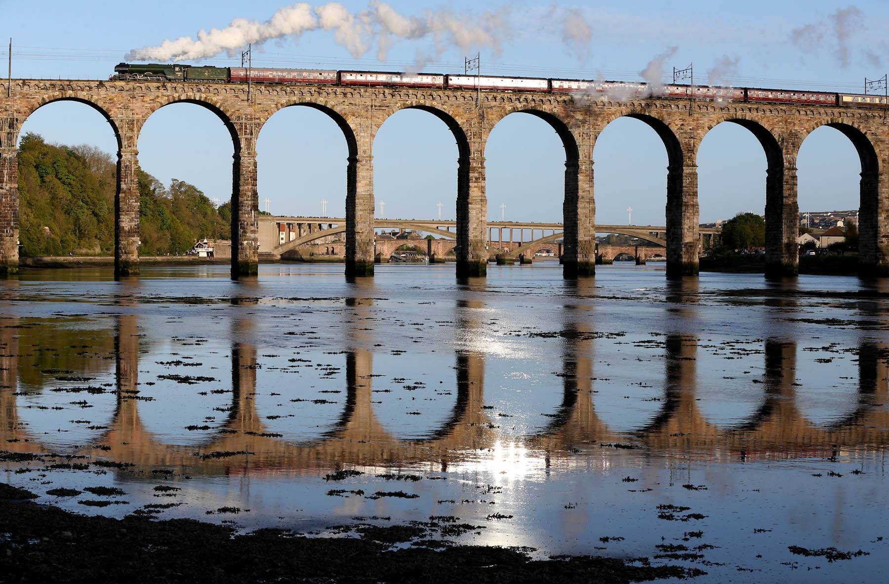 Flying Scotsman and Royal Border Bridge, Berwick upon Tweed. Photo: Chris Booth