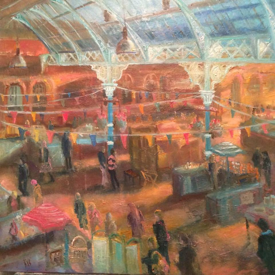 Kate Van Suddese's 'Treasures Hunters' depicts the fabulous market at Tynemouth.