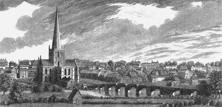 Historic view of Darlington showing the Skerne and St. Cuthbert's church