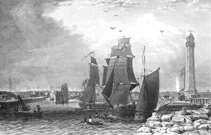 Historic view of Sunderland harbour at the mouth of the Wear in County Durham