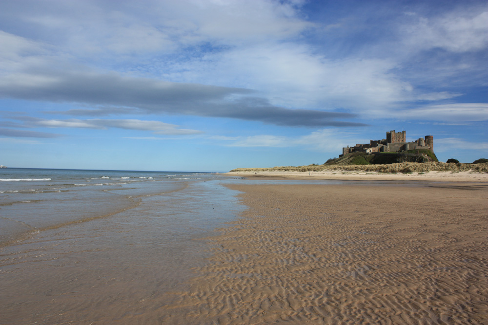 Bamburgh Castle and beach,