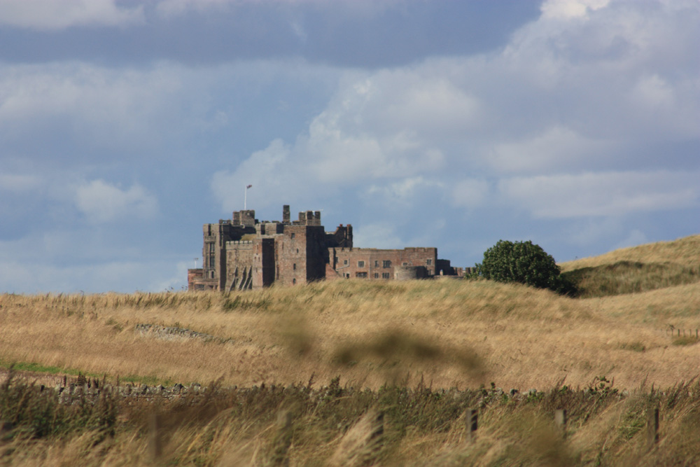 View of Bamburgh from across the dunes
