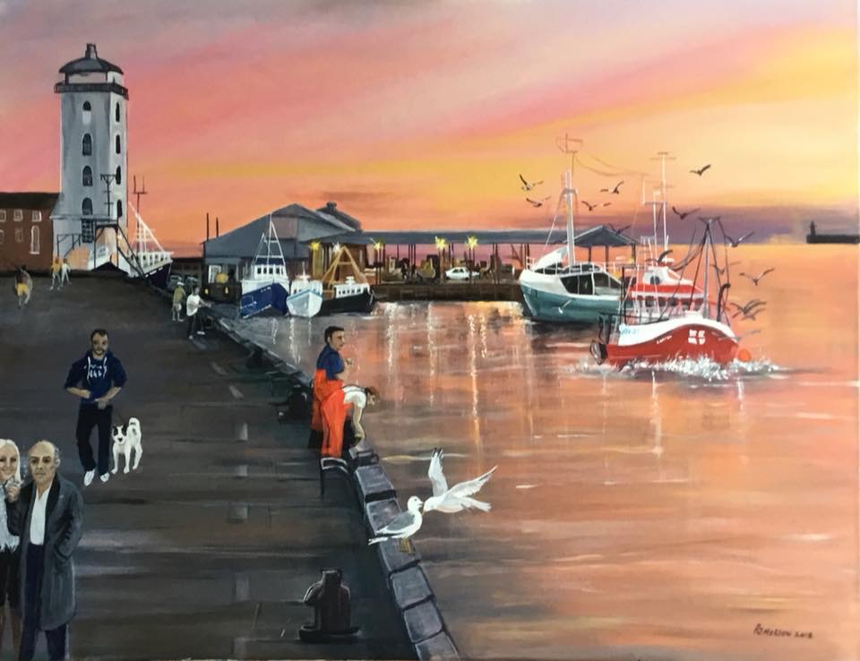 'Sunrise Reflections', North Shields Fish Quay by Pam Morton