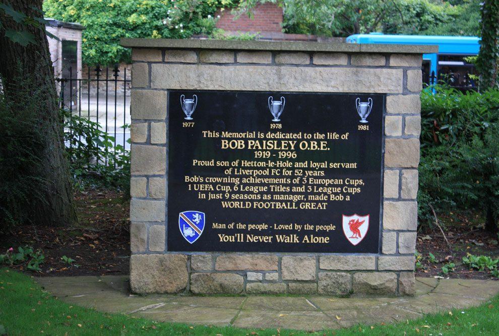 Memorial to Bob Paisley at Hetton-le-Hole