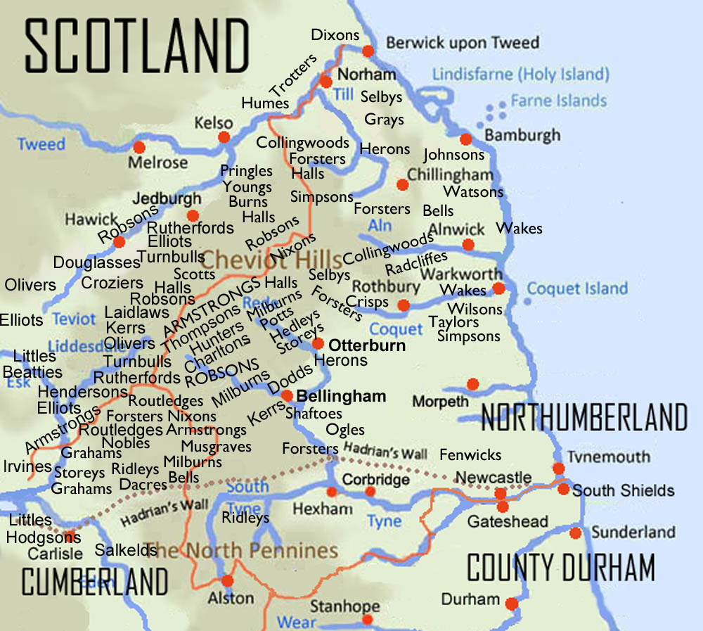 Map showing the Border Reivers