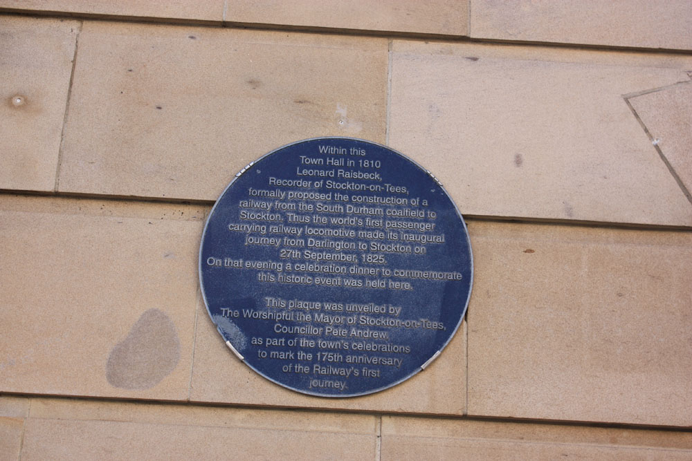 Plaque on Stockton Town Hall.