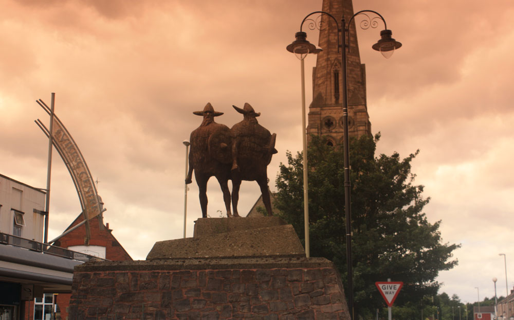 Sculpture of Vikings in Jarrow town centre