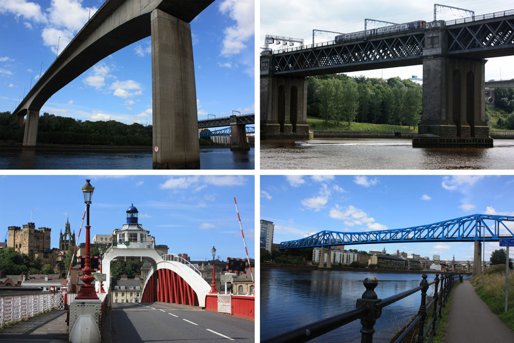 Clockwise from top left: Redheugh Bridge, King Edward VII Bridge, Queen Elizabeth II (Metro Bridge), Swing Bridge