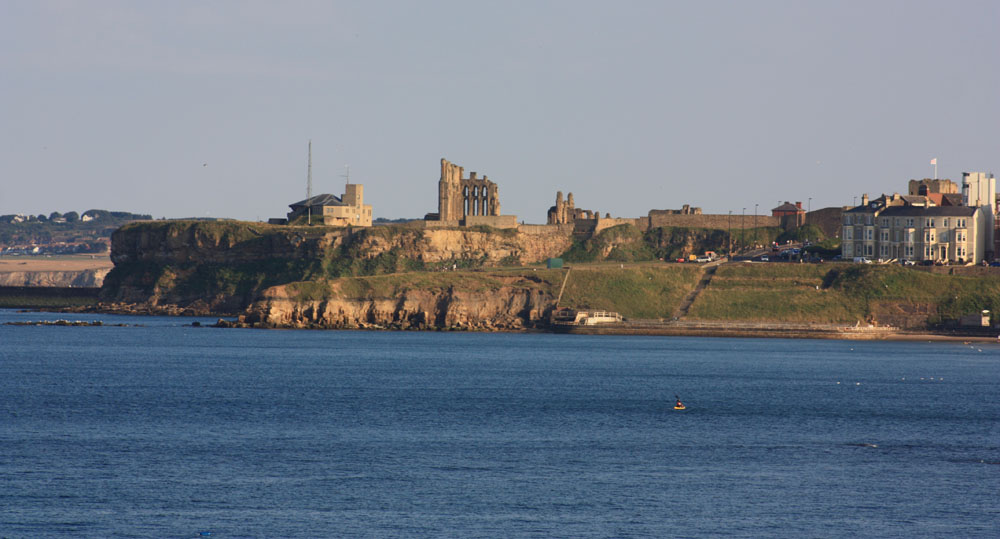 View of Tynemouth Priory and Castle from Cullercoats.