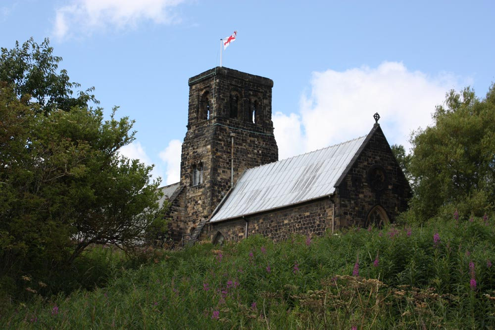 Jarrow church from the banks of the River Don