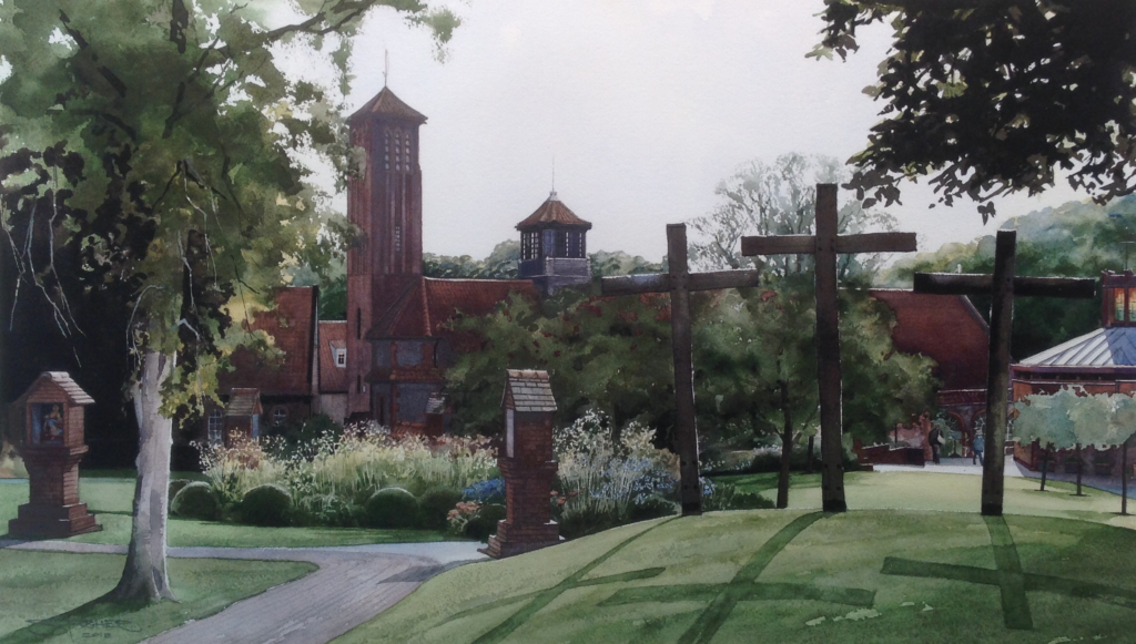Shrine of Our Lady of Walsingham Norfolk painted by Peterlee artist Stuart Fisher