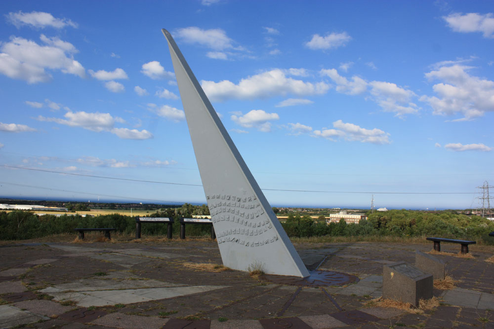 Looking to the coast from the sundial scupture at the Silver Link park near Shiremoor.