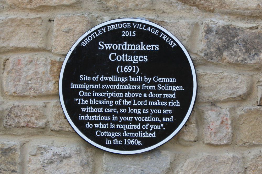Shotley Bridge Swordmakers' plaque