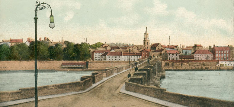 Old postcard showing Berwick