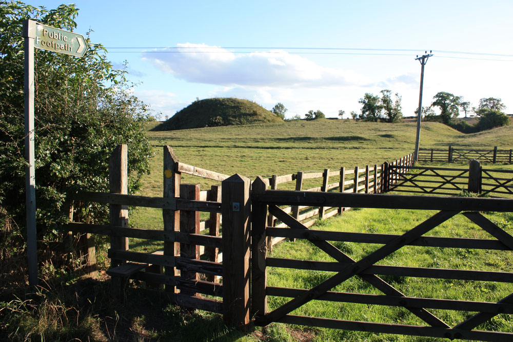 Earthworks of motte and bailey castle at Bishopton