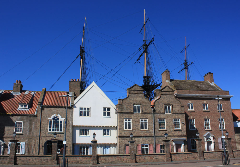 Royal Navy Museum and the mast of Trincomalee, Hartlepool