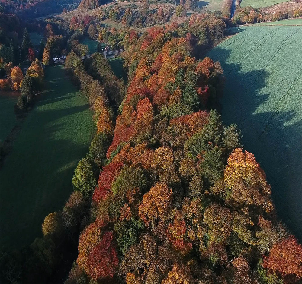 Aerial view of Allensford in the Land of Oak & Iron.