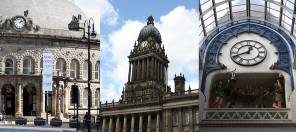 Leeds Corn Exchange. Town Hall and Thornton Arcade Clock