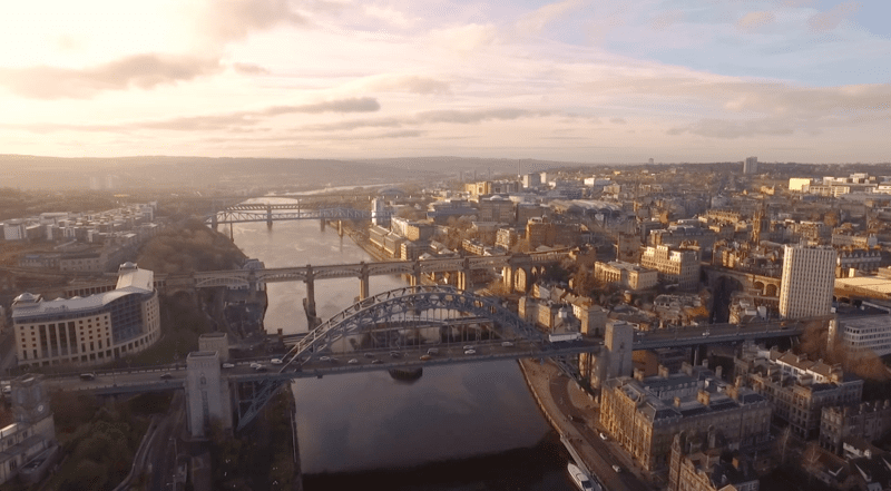 Aerial view of the Tyne Bridges by Media Borne