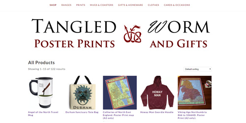 North East Maps Gifts And Clothes By Tangled Worm England S North East