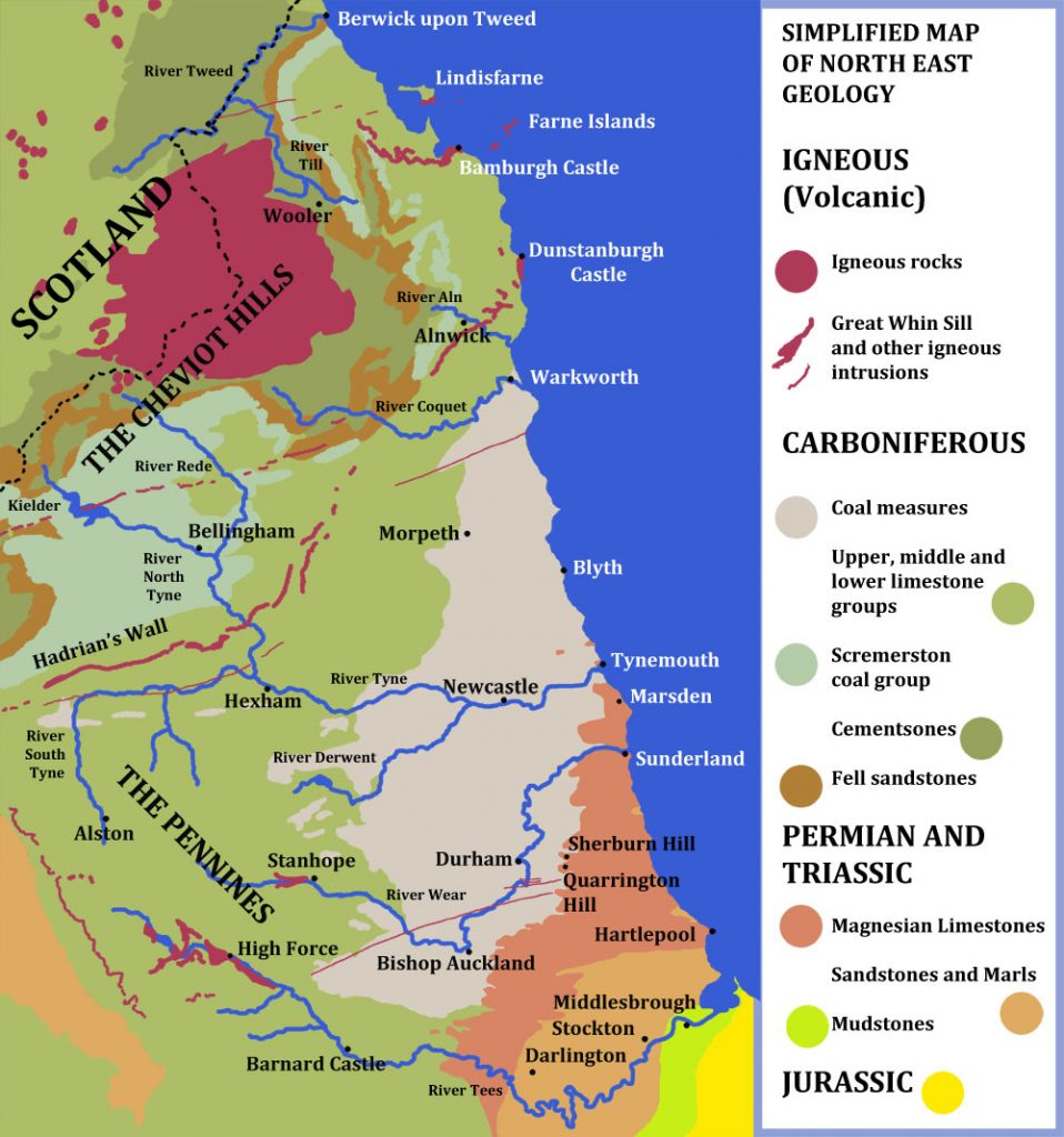 North East geology. A simplified map