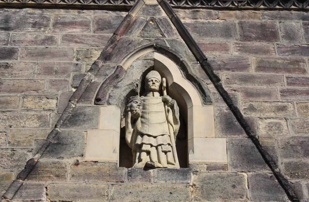 St Cuthbert depicted on Darlington church