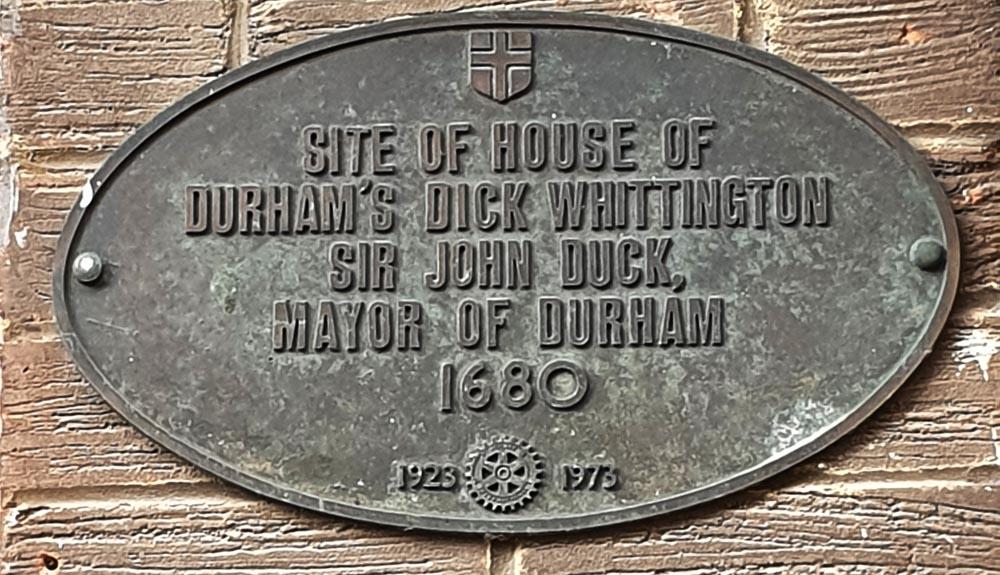 Plaque commemorating John Duck