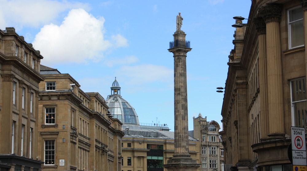 Grainger Street and Greys Monument.