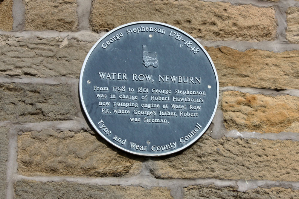 Plaque commemorating George Stephenson's links to Newburn