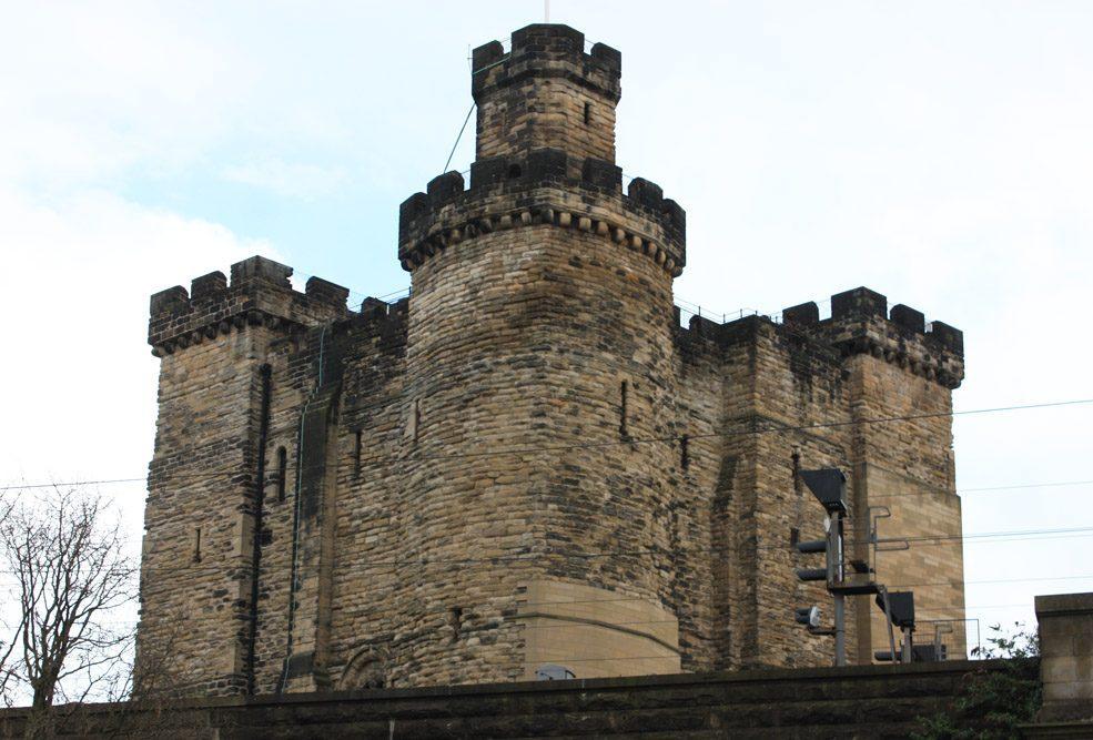 Newcastle Castle keep above railway